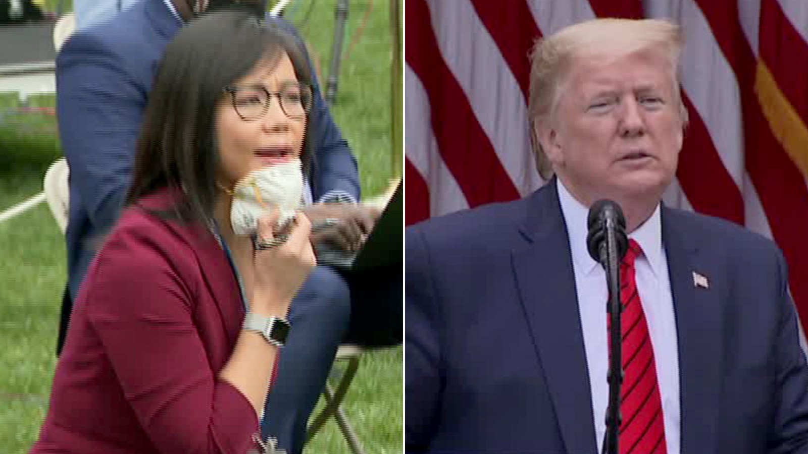 """President Donald Trump abruptly ended his press conference after a contentious exchange in which he asked an Asian-American journalist to """"ask China"""" about her question and then refused to take a query from another White House reporter. (Pool)"""