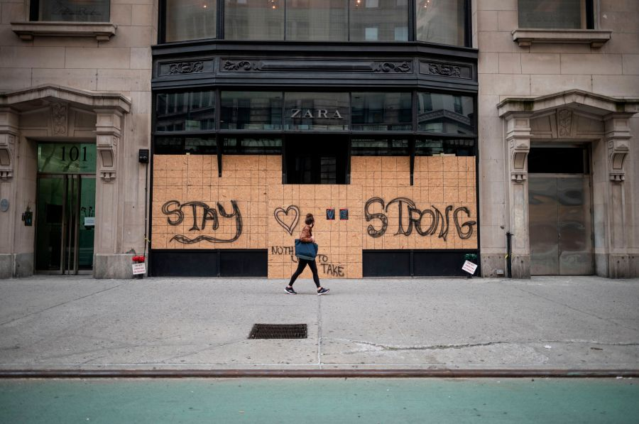 A boarded up Zara store in Manhattan in New York City. (Photo by JOHANNES EISELE/AFP via Getty Images)