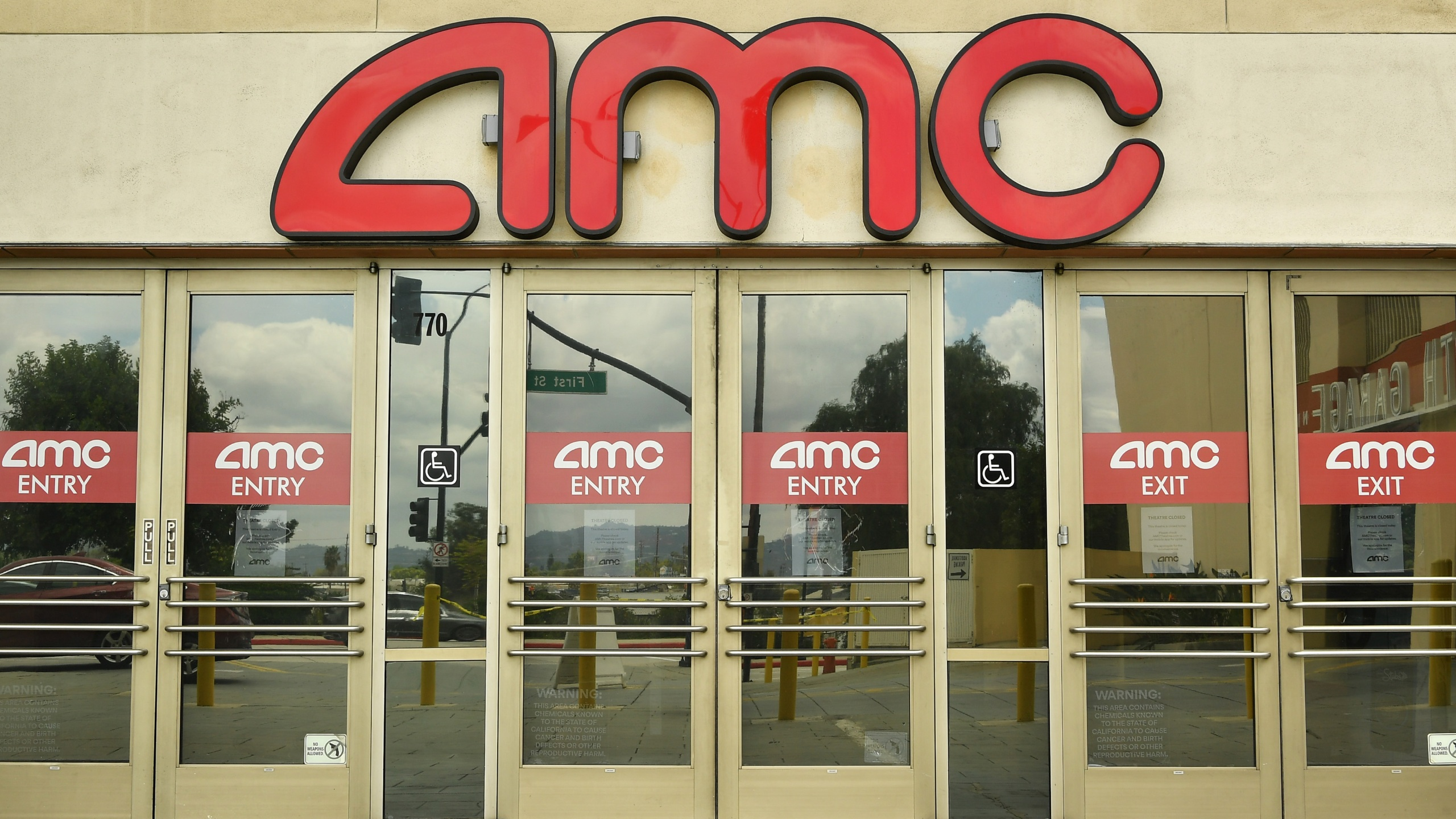 Outside of AMC Burbank Town Center 8 during the coronavirus pandemic in Burbank, CA. Due to COVID-19, AMC Theatres were forced to close all global locations in March. (Photo by Amy Sussman/Getty Images)