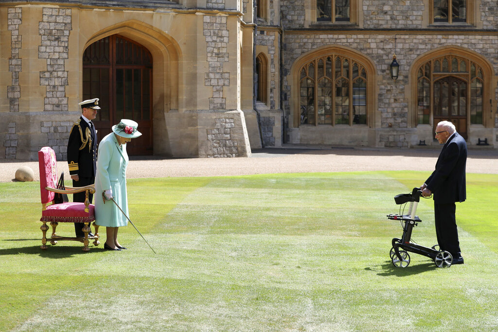 Queen makes 100-year-old WWII veteran a knight, no kneeling required