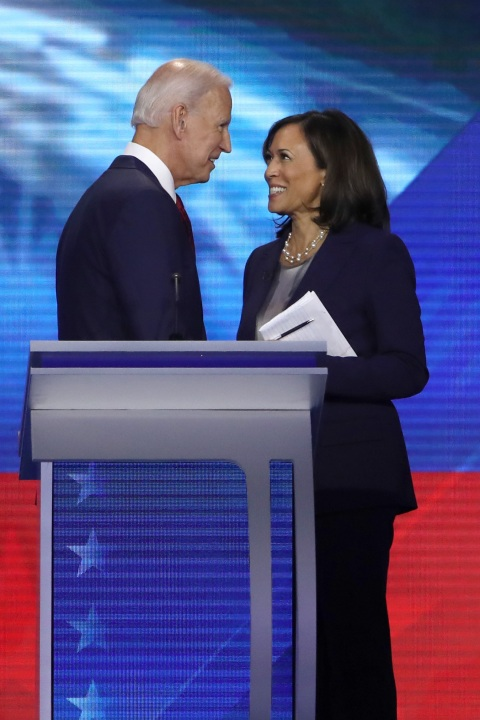 Democratic presidential candidates Joe Biden and Sen. Kamala Harris speak after the Democratic Presidential Debate at Texas Southern University's Health and PE Center on September 12, 2019 in Houston, Texas. (Photo by Win McNamee/Getty Images)