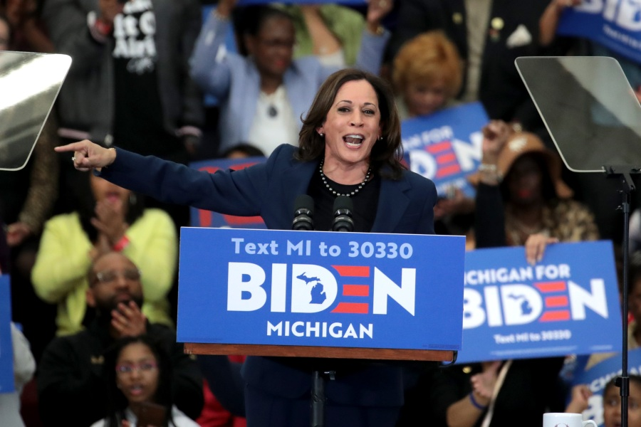Kamala Harris introduces former Vice President Joe Biden at a campaign rally at Renaissance High School Detroit, Michigan. (Photo by Scott Olson/Getty Images)