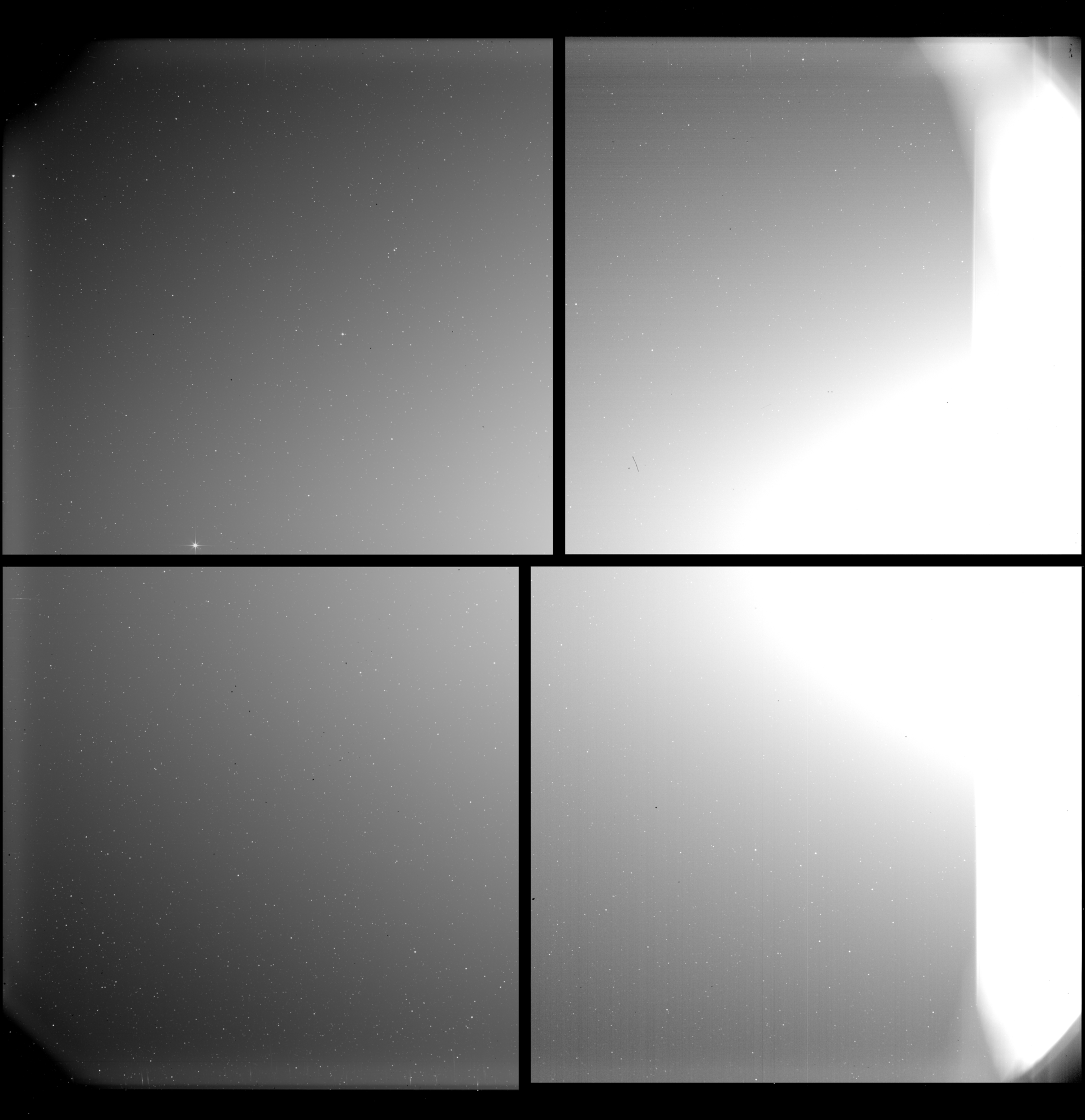 "The Heliospheric Imager (SoloHI) telescope on ESA's Solar Orbiter spacecraft takes images of the solar wind – the stream of charged particles constantly released by the Sun into outer space – by capturing the light scattered by electrons in the wind. This image is a mosaic of four separate images from four separate detectors, obtained during the instrument's 'first light' on 5 June 2020. Then, Solar Orbiter was at a distance of 0.5 astronomical units (AU; one AU is equivalent to the average distance from Earth to the Sun, about 150 million kilometres) from the Sun. SoloHI is looking off to the left side of the Sun, 5 to 45 degrees from Sun center, which at 0.5 AU corresponds to about 10 to 85 times the solar radius, or 0.04 AU to 0.39 AU. The Sun is located to the right of the frame, and its light is blocked by a series of baffles that reject the sunlight by a factor of a trillion (1012). The last baffle is in the field of view on the right-hand side and is illuminated by reflections from the solar array. ""This first light image is amazing and the stray light is what we have modeled,"" says Russell Howard, the SoloHI Principal Investigtor from the US Naval Research Laboratory in Washington, DC. ""I can hardly wait to see the real science images."" (Solar Orbiter/EUI Team (ESA & NASA); CSL, IAS, MPS, PMOD/WRC, ROB, UCL/MSSL)"