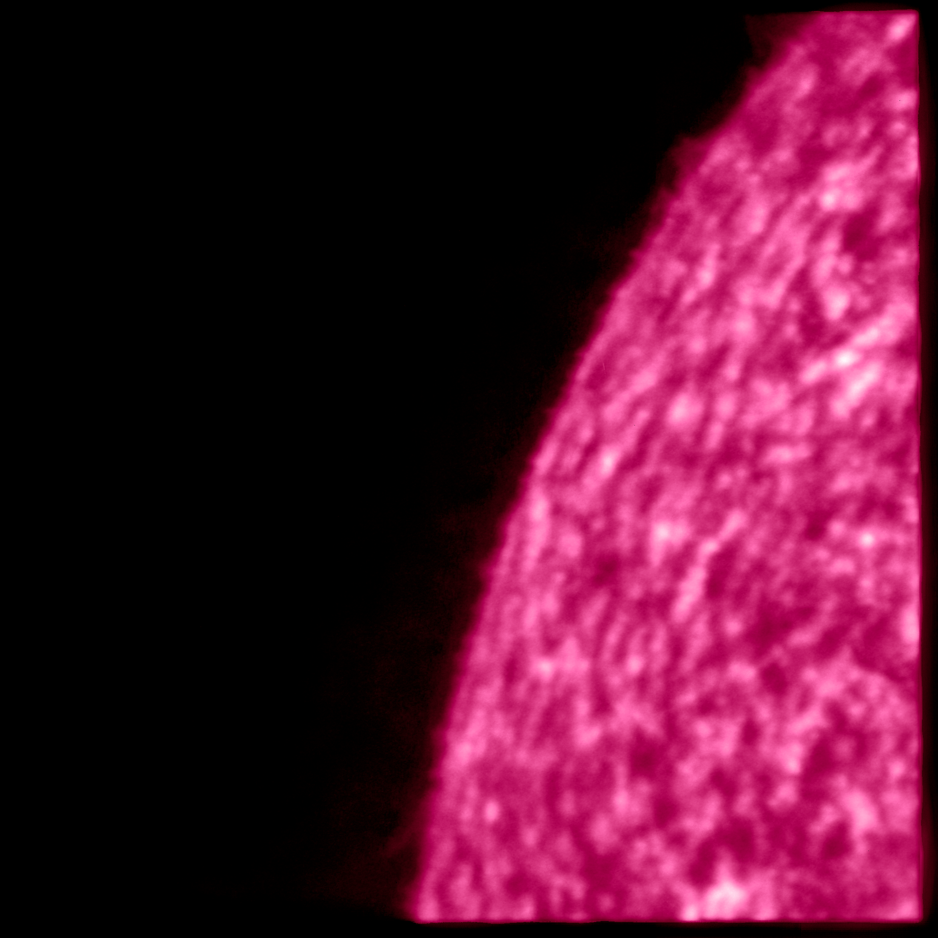 These solar images have been produced by the high resolution imager, HRILYA telescope, which is part of the Extreme Ultraviolet Imager (EUI) instrument on ESA's Solar Orbiter spacecraft. The images show the solar surface in a particular ultraviolet wavelength that is produced by hydrogen, the most abundant chemical element in the Universe. The wavelength is known as Lyman-alpha and has a wavelength of 121.6 nm. Here, it shows the solar atmosphere below the hot corona revealed by EUI's HRIEUV telescope. The 'network' structure seen in the images is characteristic of a region of the solar atmosphere known as the chromosphere. This section of the Sun's lower atmosphere has a temperature of about ten-thousand to hundred-thousand degrees Kelvin. It is an important transition region in the solar atmosphere where the electrically charged gas, known as plasma, is increasingly dominated by the magnetic field of the Sun. The pattern is produced by convective motions underneath, but individual bright features within this pattern can correspond to the footprints of magnetic structures higher up in the corona. The violet color has been artificially added to help visual identification of this region. (Solar Orbiter/EUI Team (ESA & NASA); CSL, IAS, MPS, PMOD/WRC, ROB, UCL/MSSL)
