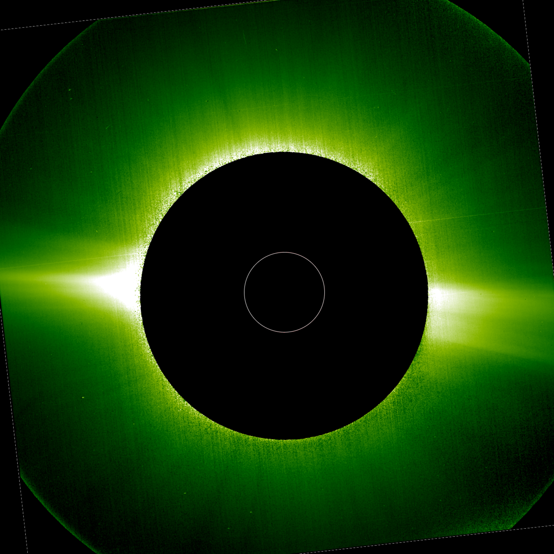 An image of the Sun's corona obtained with the Metis instrument on ESA's Solar Orbiter. This was obtained on 21 June 2020, shortly after the spacecraft's first perihelion, and was taken in visible light (580-640 nm). It shows the two bright equatorial streamers and fainter polar regions that are characteristic of the solar corona during times of minimal magnetic activity.  (Solar Orbiter/PHI Team/ESA & NASA)
