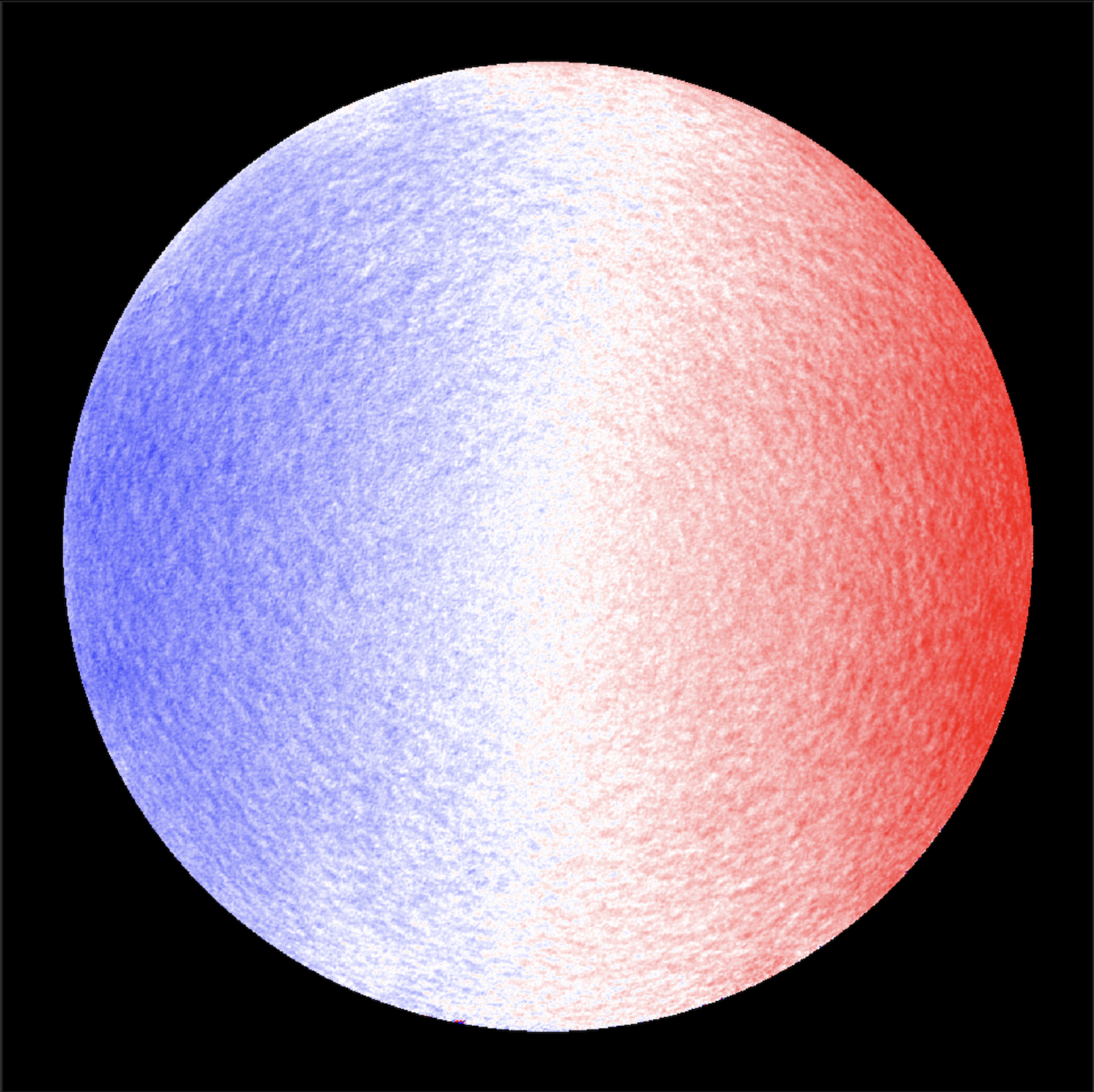 This image is a 'tachogram' of the Sun, taken with the Polarimetric and Helioseismic Imager (PHI) Full Disc Telescope on ESA's Solar Orbiter on 18 June 2020. It shows the line of sight velocity of the Sun, with the blue side turning to us and the red side turning away. (Solar Orbiter/PHI Team/ESA & NASA)