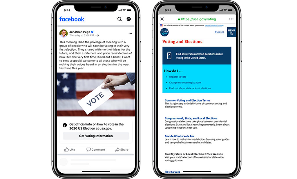 This image provided by Facebook shows an example of a post with information about voting. Facebook has started labeling all posts about voting by federal elected officials and candidates in the U.S. On Tuesday, the labels appeared on posts by President Donald Trump and by Joe Biden, among others. (Facebook via AP)
