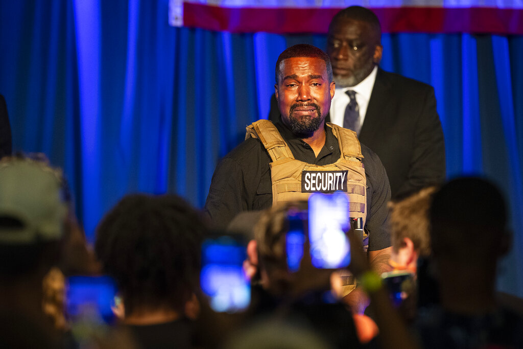 Rapper Kanye West, in his first event since declaring himself a presidential candidate, delivered a lengthy monologue Sunday touching on topics from abortion and religion to international trade and licensing deals. Whether he's actually seeking the nation's highest office remains a question. (Lauren Petracca Ipetracca/The Post And Courier via AP)