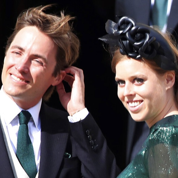 FILE - Britain's Princess Beatrice with her fiance, Edoardo Mapelli Mozzi