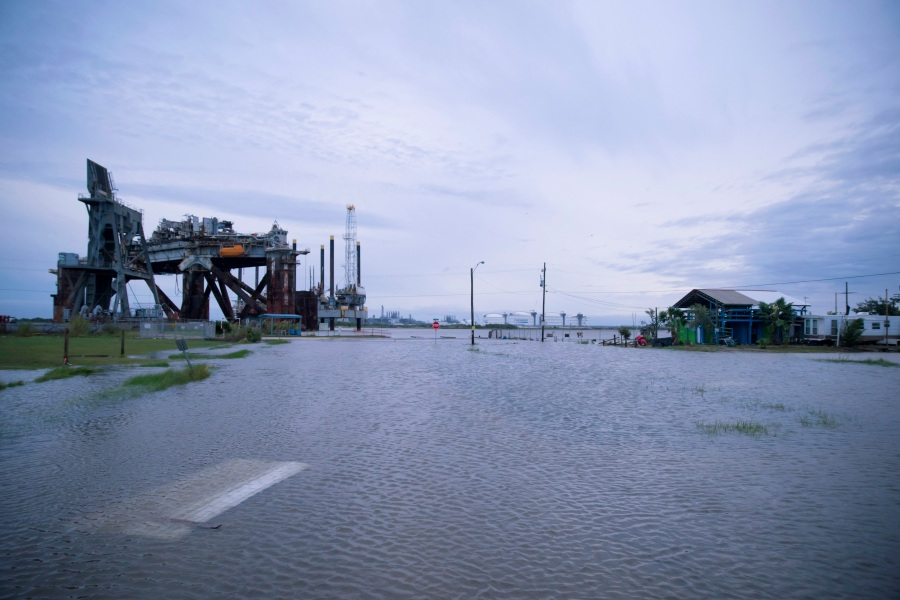 Flooding caused by Hurricane Laura in Sabine Pass, Texas. (Photo by Eric Thayer/Getty Images)
