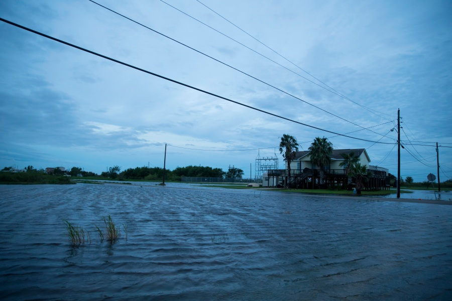 Flooding caused by Hurricane Laura on Thursday in Sabine Pass, Texas. Hurricane Laura came ashore bringing rain and high winds to the eastern part of the state. (Photo by Eric Thayer/Getty Images)