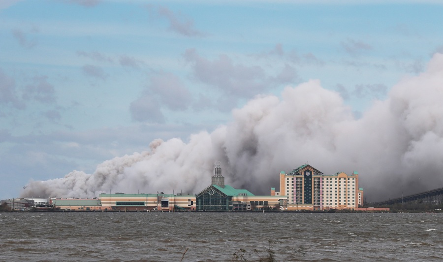 Smoke rises from what is reported to be a chemical plant fire after Hurricane Laura passed through Lake Charles, Louisiana. (Photo by Joe Raedle/Getty Im