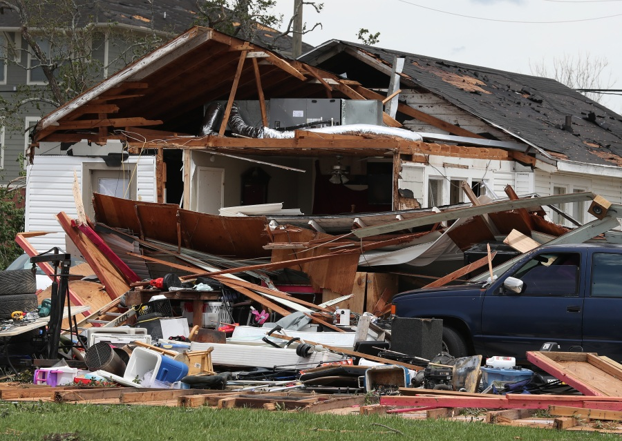 A damaged home is seen after Hurricane Laura passed through Lake Charles, Louisiana . The hurricane hit with powerful winds causing extensive damage to the city. (Photo by Joe Raedle/Getty Images)