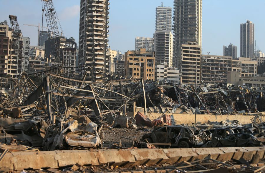 A picture shows the scene of an explosion at the port in Beirut.