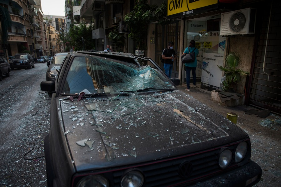 A car is damaged after a large explosion on Aug. 4, 2020 in Beirut, Lebanon.