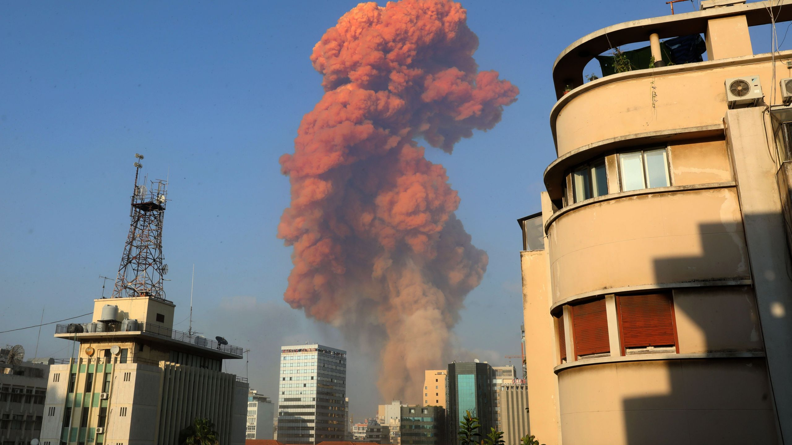 A picture shows the scene of an explosion in Beirut.