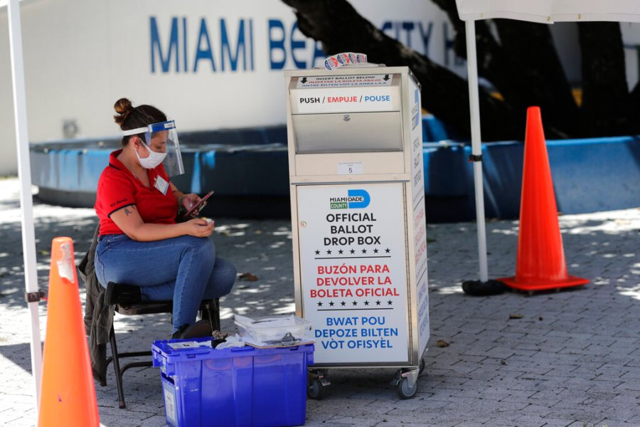 A poll worker wears personal protective equipment as she monitors a ballot drop box for mail-in ballots outside of a polling station during early voting in Miami Beach, Fla. With the Trump administration openly trying to undermine mail-in voting this fall, some election officials around the country are hoping to bypass the Postal Service by installing lots of ballot drop boxes in libraries, community centers and other public places. (AP Photo/Lynne Sladky, File)