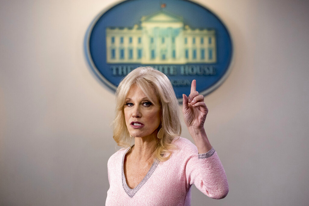 Kellyanne Conway speaks in the Briefing Room at the White House in Washington. in 2019. Conway, one of President Donald Trump's most influential and longest serving advisers, announced Sunday that she would be leaving the White House at the end of the month. Conway, who was Trump's campaign manager during the stretch run of the 2016 race, was the first woman to successfully steer a White House bid before becoming a senior counselor to the president. She informed Trump of her decision in the Oval Office. (AP Photo/Andrew Harnik, File)