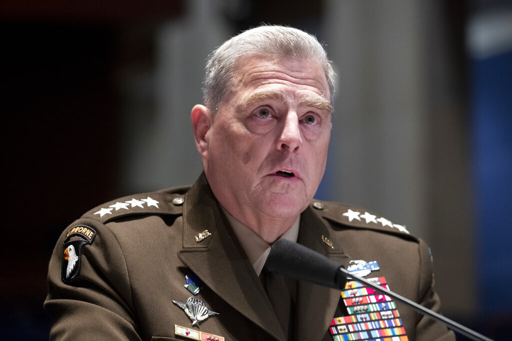 Chairman of the Joint Chiefs of Staff Gen. Mark Milley testifies during a House Armed Services Committee hearing in July/. (Michael Reynolds/Pool via AP)