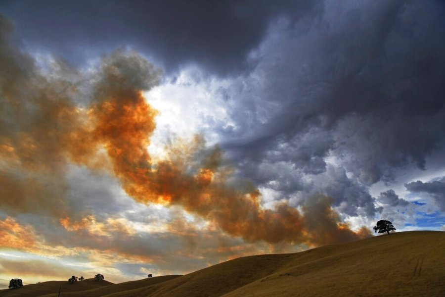 Smoke from a vegetation fire caused by a lightning strike rises up into the early morning sky as rain begins to fall in Brentwood, Calif., Sunday. (Jose Carlos Fajardo/Bay Area News Group)