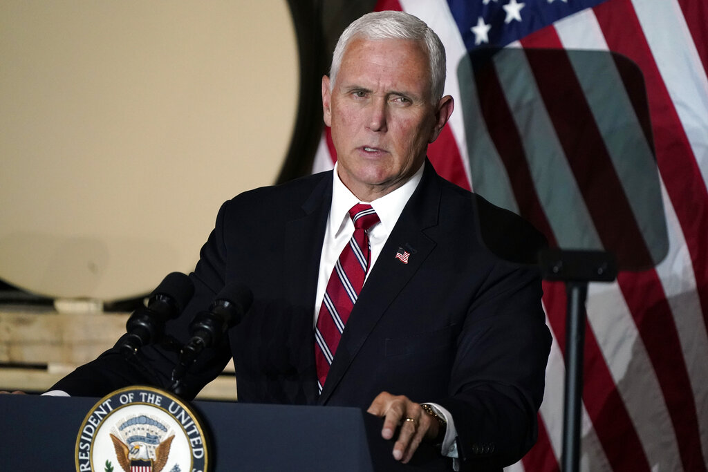 Vice President Mike Pence speaks at the Tankcraft Corporation Wednesday, Aug. 19, 2020, in Darien, Wis. (AP Photo/Morry Gash)