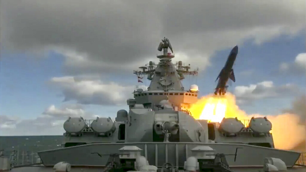 In this undated video grab provided by the Russian Defense Ministry Press Service, Russia's Varyag missile cruiser fires a cruise missile as part of war games in the Bering Sea nvolving dozens of ships and aircraft, the biggest such drills in the area since Soviet times. (Russian Defense Ministry Press Service via AP)