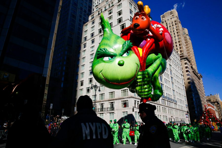 The Grinch balloon floats over Central Park West during the 92nd annual Macy's Thanksgiving Day Parade in 2018. (AP Photo/Eduardo Munoz Alvarez, File)