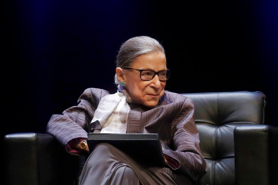 U.S. Supreme Court Justice Ruth Bader Ginsburg listens to speakers during the inaugural Herma Hill Kay Memorial Lecture at the University of California at Berkeley in Berkeley, Calif. (AP Photo/Jeff Chiu, File)