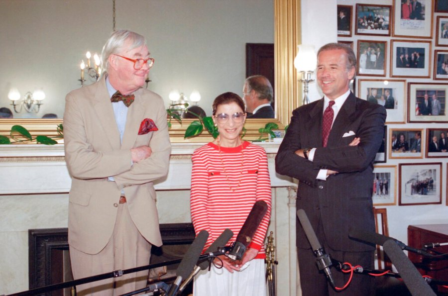 In this June 15, 1993, file photo, Judge Ruth Bader Ginsburg poses with Sen. Daniel Patrick Moynihan, left, and Sen. Joseph Biden, chairman of the Senate Judiciary Committee on Capitol Hill in Washington. The Supreme Court says Ginsburg has died of metastatic pancreatic cancer at age 87. (AP Photo/Marcy Nighswander, File)