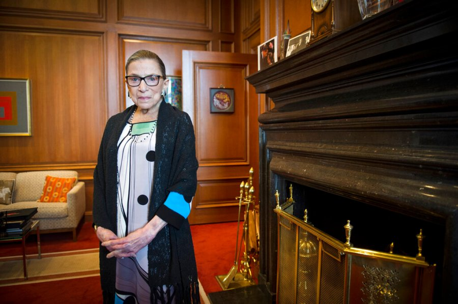 Associate Justice Ruth Bader Ginsburg is seen in her chambers in at the Supreme Court in Washington in 2014. The Supreme Court says Ginsburg has died of metastatic pancreatic cancer at age 87. (AP Photo/Cliff Owen, File)