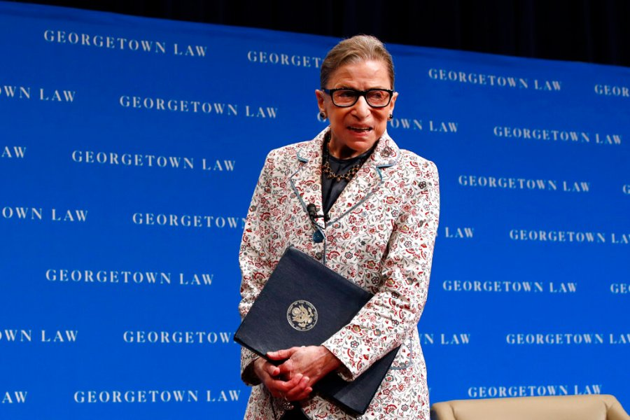 Supreme Court Justice Ruth Bader Ginsburg leaves the stage after speaking to first-year students at Georgetown Law in Washington in 2018. (AP Photo/Jacquelyn Martin, File)