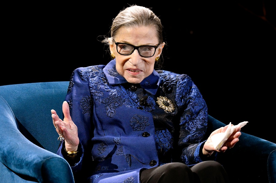 Justice Ruth Bader Ginsburg speaks onstage at the Fourth Annual Berggruen Prize Gala celebrating 2019 Laureate Supreme Court Justice Ruth Bader Ginsburg In New York City in 2019. (Photo by Eugene Gologursky/Getty Images for Berggruen Institute )