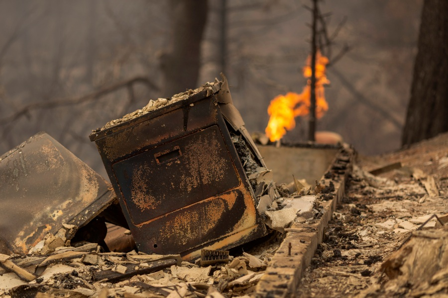 A home is completely destroyed after the Creek Fire swept through the area near Shaver Lake, California.(Photo by David McNew/Getty Images)