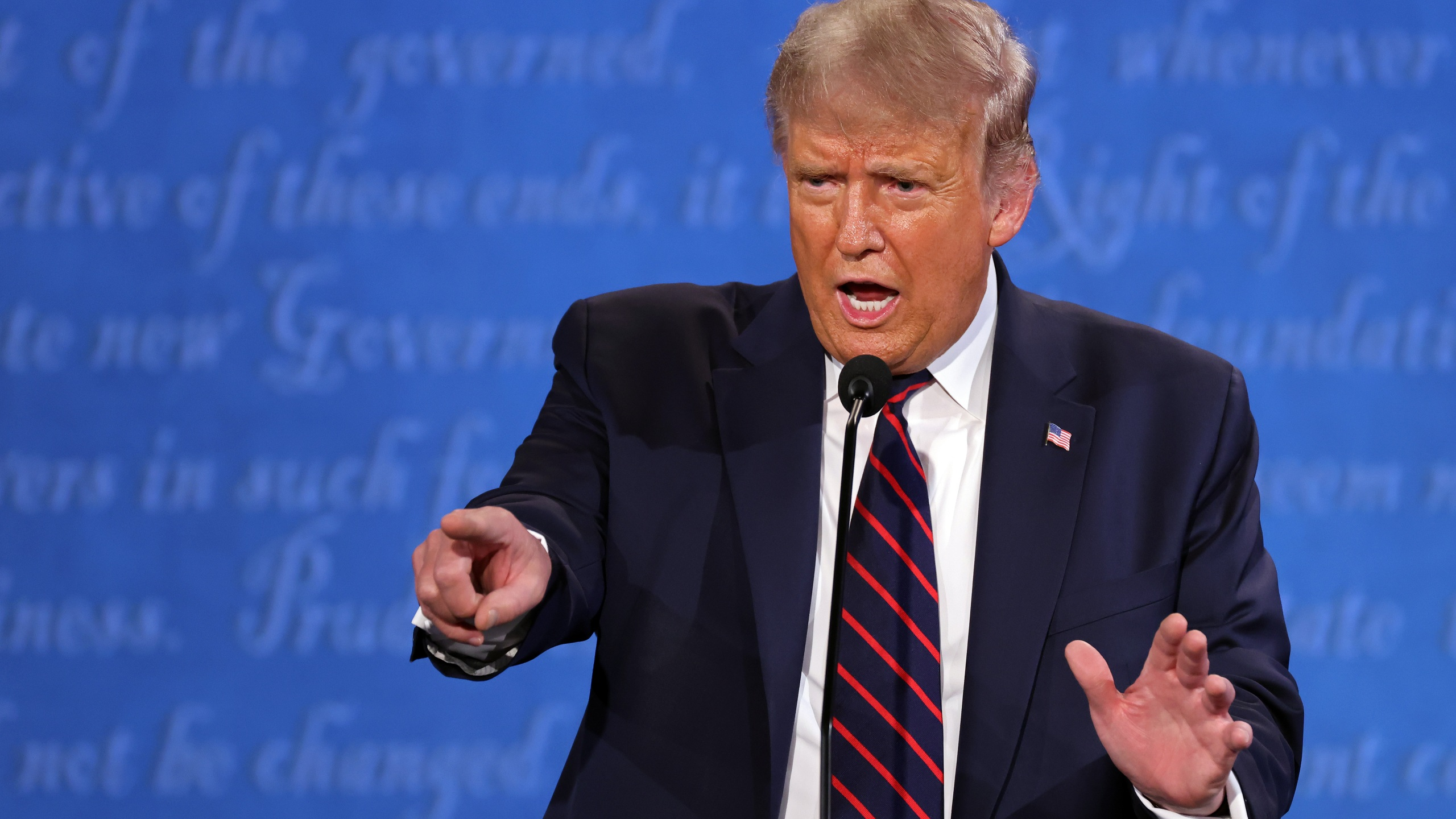 President Trump in the first presidential debate at the Health Education Campus of Case Western Reserve University in Cleveland, Ohio. (Photo by Win McNamee/Getty Images)