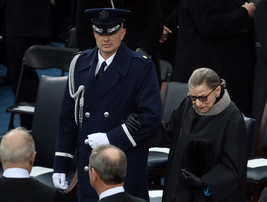 Supreme Court Justice Ruth Bader Ginsburg arrives on the West Front of the U.S. Capitol on January 20, 2017 in Washington, DC. for the inauguration ceremony of President Donald Trump.  (Photo by Drew Angerer/Getty Images)