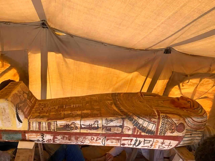 One of more than two dozen ancient coffins unearthed near the famed Step Pyramid of Djoser in Saqqara, south of Cairo, Egypt. (Ministry of Tourism and Antiquities via AP)