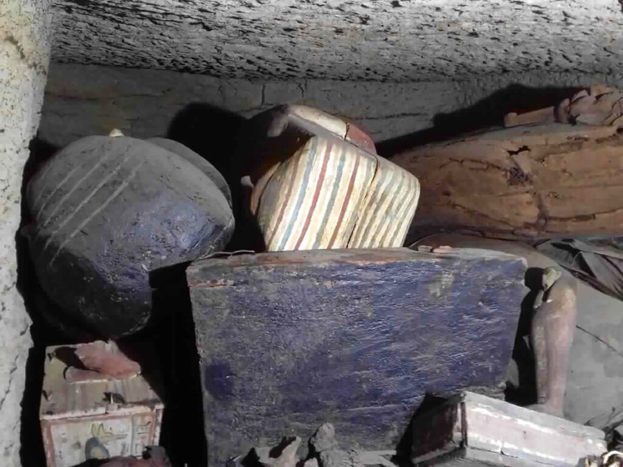 Some of the antiquities that included more than two dozen ancient coffins and other artifacts that were unearthed near the famed Step Pyramid of Djoser in Saqqara, south of Cairo, Egypt. The Tourism and Antiquities Ministry has said initial studies show that the newly found coffins have not been opened since they were buried more than 2,500 years ago. (Ministry of Tourism and Antiquities via AP)