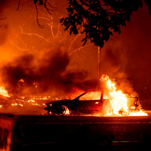 This photo taken by Talent, Ore., resident Kevin Jantzer shows the destruction of his hometown as wildfires ravaged the central Oregon town near Medford late Tuesday. (Kevin Jantzer via AP)