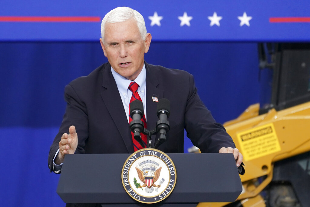 Vice President Mike Pence speaks at a campaign event on the grounds of Kuharchik Construction, Inc., in Exeter, Pa. (AP Photo/John Minchillo, File)