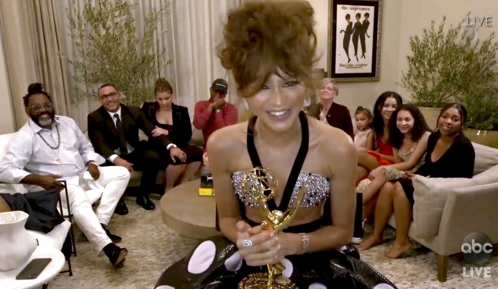"""Zendaya accepts the award for outstanding lead actress in a drama series for """"Euphoria"""" during the 72nd Emmy Awards broadcast. (The Television Academy and ABC Entertainment via AP)"""
