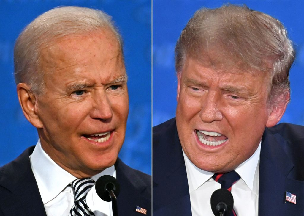 Democratic Presidential candidate and former Vice President Joe Biden and President Donald Trump speaking during the first presidential debate at the Case Western Reserve University and Cleveland Clinic in Cleveland, Ohio on September 29, 2020. (Photo by JIM WATSON,SAUL LOEB/AFP via Getty Images)