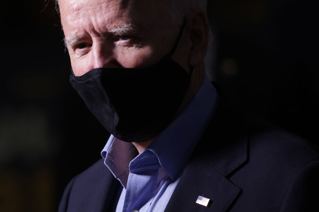 Joe Biden waits to greet local officials at Joey D's Restaurant at Latrobe Train Station in Latrobe, Pennsylvania, on Wednesday. (Photo by Alex Wong/Getty Images)