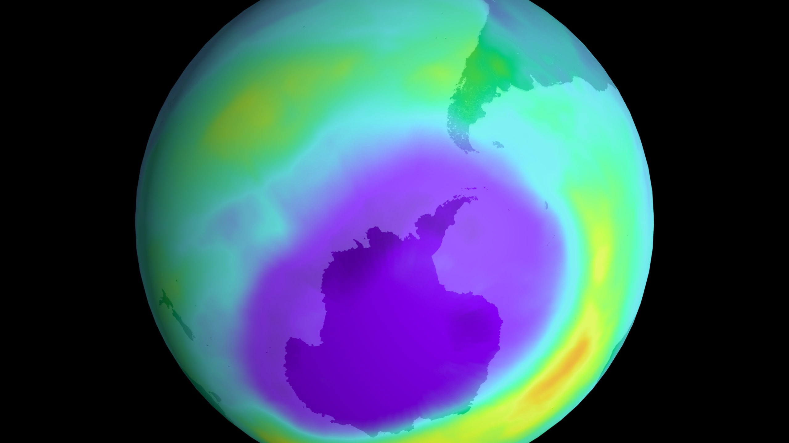 A 11.5 million square-mile hole in Earth's protective ozone layer over Antarctica in 2000. The area is approximately three times the size of the United States. (Photo by Newsmakers/Getty Images)