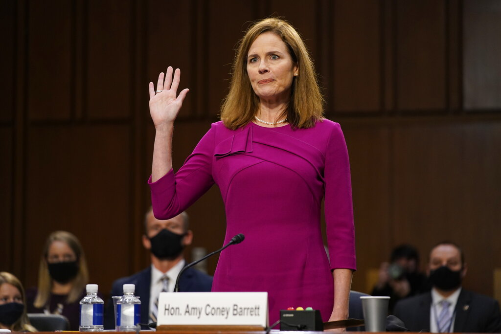 Supreme Court nominee Amy Coney Barrett is sworn in during before the Senate Judiciary Committee on Monday. (AP Photo/Patrick Semansky, Pool)