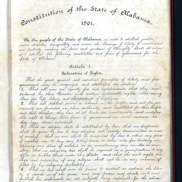 This undated image released by the Alabama Department of Archives and History shows Alabama's 1901 Constitution, which was intended to maintain white supremacy in the state. With the nation focused on racial justice because of the police killings of George Floyd and other Black people, state voters are being asked to remove racist phrases from the document once and for all. While no organized opposition has emerged, some worry that a conservative backlash against protests over racial injustice could harm the chances for passage. (AP Photo/Alabama Department of Archives and History)