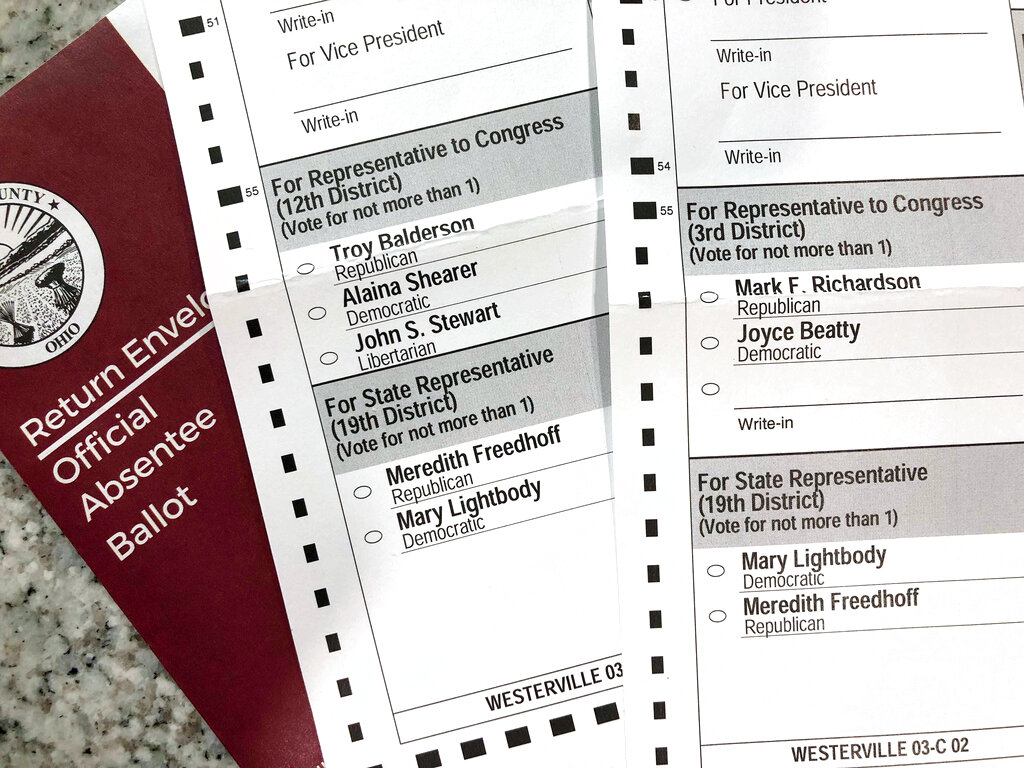 Two voters registered at the same address in the Columbus suburb of Westerville, Ohio, were mailed these differing absentee ballots for the 2020 general election, with one of the ballots listing candidates from a different congressional district. (AP Photo/Kantele Franko)