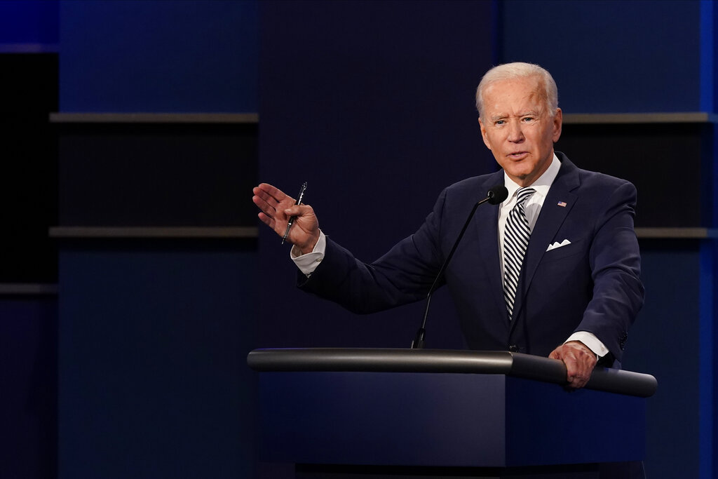 Joe Biden during the first presidential debate Tuesday at Case Western University and Cleveland Clinic, in Cleveland, Ohio. (AP Photo/Patrick Semansky)