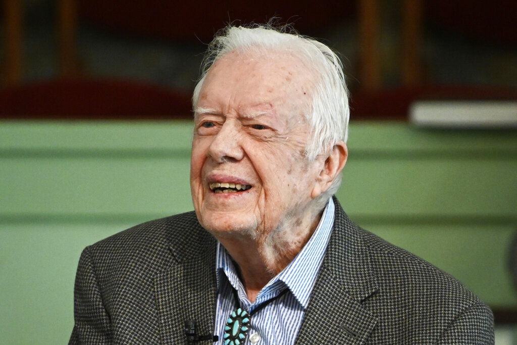 Former President Jimmy Carter teaches Sunday school at Maranatha Baptist Church in Plains, Ga. in 2019. Carter marks his 96th birthday Thursday, Oct. 1., the latest milestone for the longest-lived of the 44 men to hold the highest American office. (AP Photo/John Amis, File)