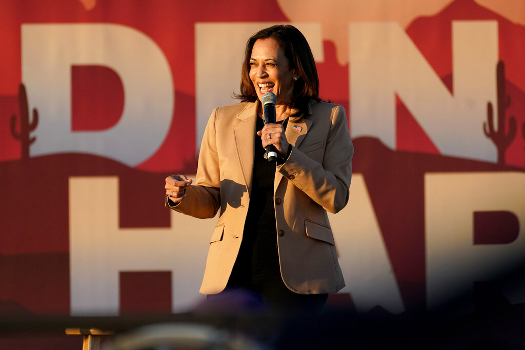 Democratic vice presidential candidate Sen. Kamala Harris speaks at a mobile campaign event, Wednesday, Oct. 28, 2020, in Phoenix. (AP Photo/Matt York)