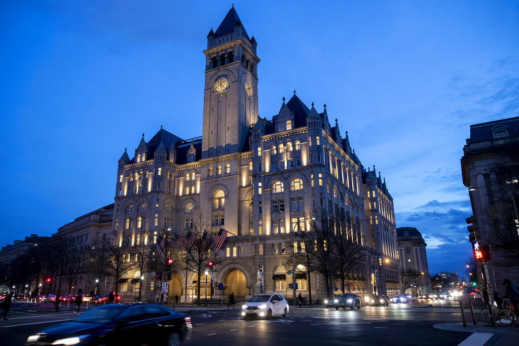 Trump International Hotel near sunset in Washington. Trump has his eye on hosting an election night party at his own hotel in the nation's capital. (AP Photo/Alex Brandon, File)